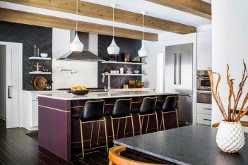 紫色更好开放式厨房设计
